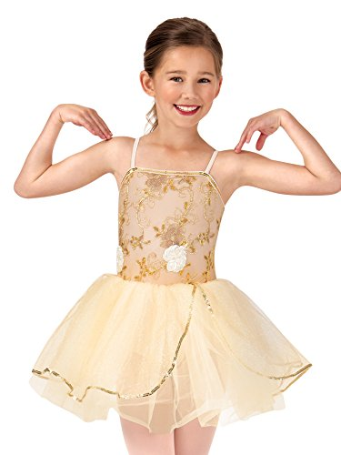 La Petite Ballerina Child Beaded Flower Camisole Tutu Costume Dress PB2013CGOLS Gold Small