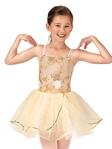 La Petite Ballerina Child Beaded Flower Camisole Tutu Costume Dress PB2013CGOLM Gold ()
