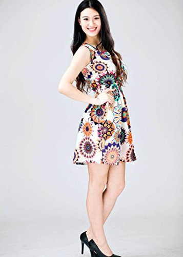Oyedens éTé Femme Sans Manches Robe Floral Mini Robe
