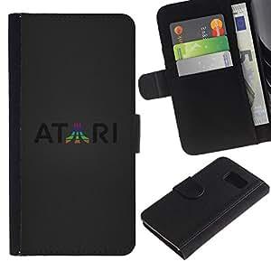 JackGot ( Atari ) Samsung Galaxy S6 la tarjeta de Crédito Slots PU Funda de cuero Monedero caso cubierta de piel
