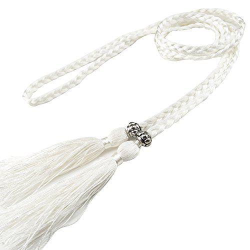 White Braided Belt - MoYoTo Women's Fashion Bowknot Thin Braided Belt for Dress with Tassel (Multicolor) (White)