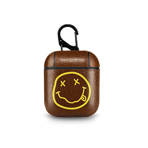 Leather Case for AirPods Nirvana Logo Kurt Cobain 90s Grunge Rock Light Brown PU Leather Protective Shockproof Cover Wireless Charging for Apple AirPods 1 2 -
