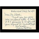 """Claire Du Brey D.1993 Actress Jane Eyre Signed 3"""" x 5"""" Index Card - Autographed Soccer Photos"""