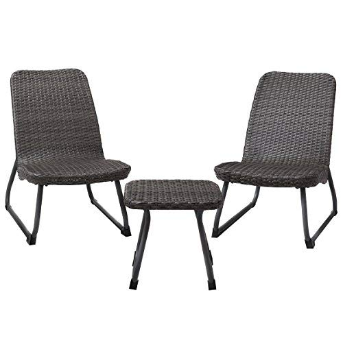 Cheap  TANGKULA Patio Furniture Set 3 Piece All Weather Outdoor Garden Wicker Chair..