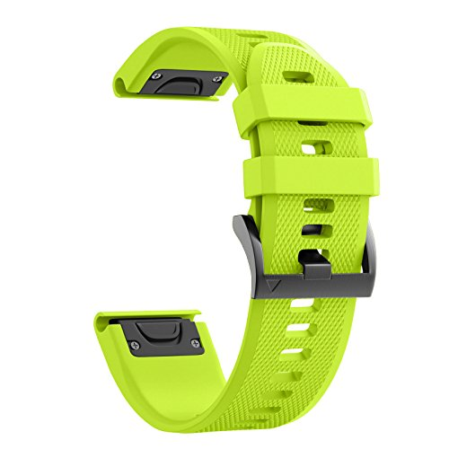 ANCOOL Compatible Garmin Fenix 5 Band Easy Fit 22mm Width Soft Silicone Watch Strap Compatible Garmin Fenix 5/Fenix 5 Plus/Forerunner 935/Approach S60/Quatix 5 - Green