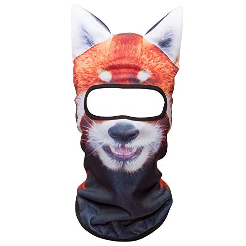 WTACTFUL 3D Animal Ears Balaclava Windproof Face Mask Cover Protection for Music Festivals Raves Halloween Party Riding Skiing Snowboarding Snowmobile Red Panda MEB-30 -