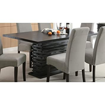 Coaster Home Furnishings Stanton Modern Contemporary Wave Design  Rectangular Dining Table   Black