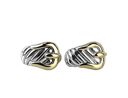 David Yurman Gold Ring (DAVID YURMAN STERLING SILVER & 18K GOLD LARGE 23mm BUCKLE EARRINGS NEW 10E BOX)