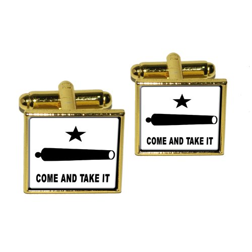Come and Take it - Texas Flag - Revolt Square Cufflink Set - Gold