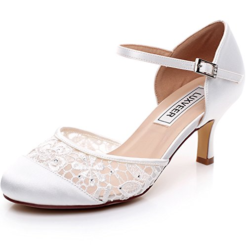 Rhinestone Dressy Sandal (LUXVEER Elegant Wedding Shoes for Women,with Silver Rhinestone and Lace Butterfly - Heels 2 inch-RS-9809-Closed-Toe-EU40 Wedding)