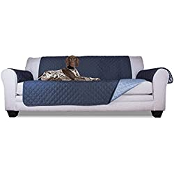Furhaven Pet Reversible Furniture Cover Protector Pet Bed for Dogs and Cats, Sofa, Navy/Light Blue