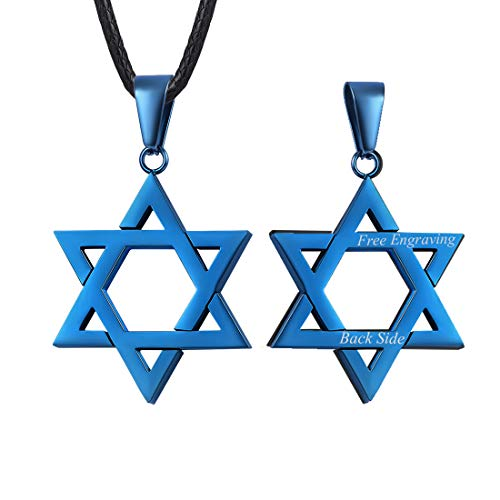 U7 Chic Blue Star of David Pendant with Custom Engrave Service Men Women Personalized Megan Jewish Jewelry Necklace 2mm Black Leather Chain 26 Inch