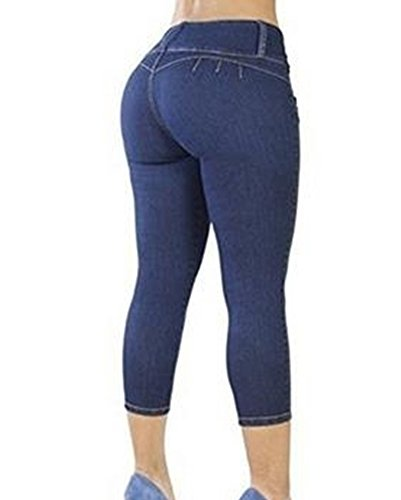 Cropped Scuro Up Capri Blu Leggings Jeans Stretch Donna Skinny Pantaloni Jeggings Push wp8CH