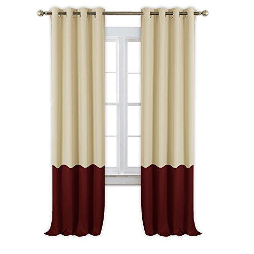 NICETOWN Colorblock Patio Blackout Curtains - Window Treatme