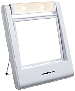 ovente lightweight travel lighted vanity mirror 1x 5x magnification white beauty. Black Bedroom Furniture Sets. Home Design Ideas