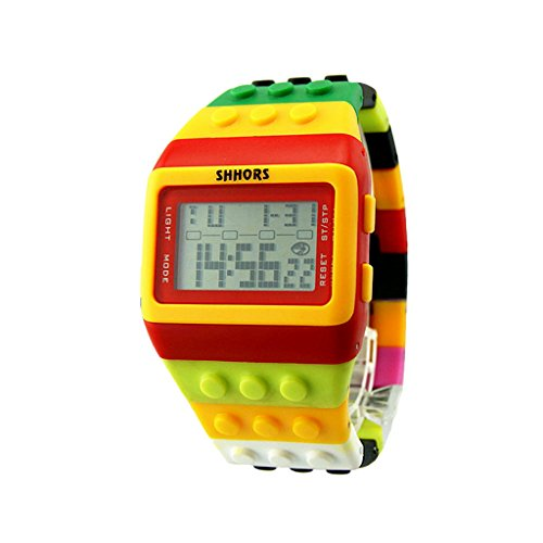 COOKI Sports Watch Unisex Rianbow Plastic Band Digital Wrist Watches for Women Men Kids Teens, Women Mens Kids Watches on Sale Clearance - Shipping International Time