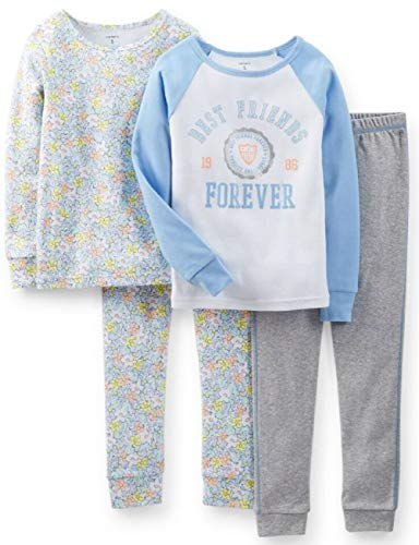 Carter's Girls' 4-Piece Snug Fit Cotton Pajamas (Multicolor Print, 6)