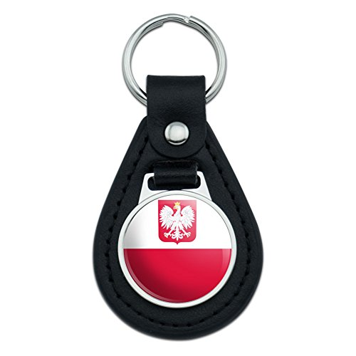 Graphics and More Poland With Coat of Arms National Country Flag Black Leather Keychain Lthr Coat