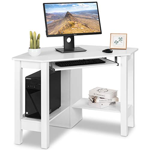 uter Desk Home Office Wood with Storage Shelf Laptop PC Table Writing Study Table Workstation (White with Keyboard Tray) ()