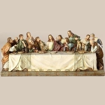 The Last Supper Renaissance Design Jesus with 12 Disciples 11 x 4.5 Inch Stone Statue Figurine -
