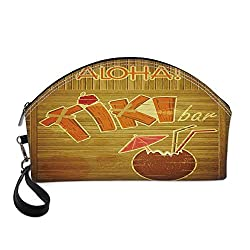 Tiki Bar Decor Small Portable Cosmetic Bag,Wooden Planks Wall with Styled Tiki Bar Text Cocktail Hibiscus Aloha For Women,Half Moon Shell Shape One size