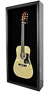 Acoustic Guitar Display Case Wall Shadow Box Cabinet, With LOCK, GTAR1B(BL)