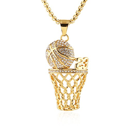 1ad49ba13e3 HZMAN Mens 18k Gold Silver Plated Basketball Rim CZ Inlay Pendant Hip Hop 24  Inches Chain (Gold - 23)