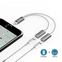 iPhone 7 Adapter & Splitter, Double Lightning Ports for Iphone7, 7 Plus, Charge Audio Splitter for iPhone 7/7 Plus, Compatible with IOS 10.3 and Supports Music Control and Phone Communication (Silver)