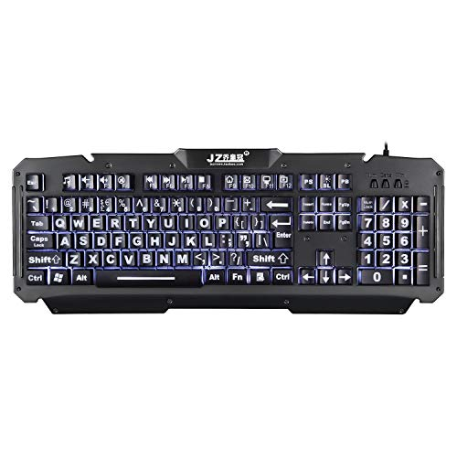 Cdycam Large Print LED Backlit Vision Light up USB Wired Ergonomic Gaming Backlight Keyboard