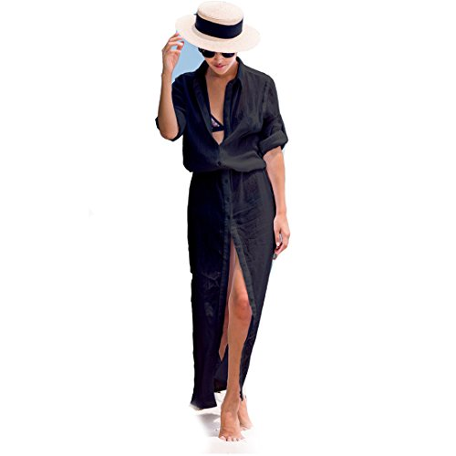 Front Crinkle Chiffon Shirt Button (Women's Casual Buttons Long Sleeve Split Beach Maxi Dress Cover up Tunic (Black))
