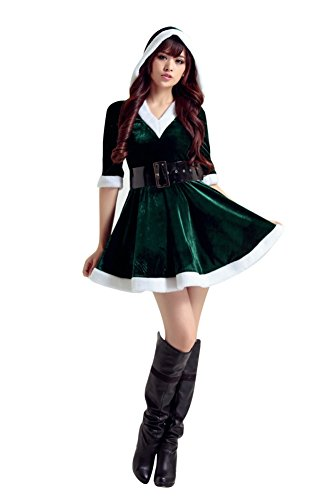 [OVOV Half-Sleeve Hood Dress Costume Christmas Women Sexy Cosplay Santa Claus Assistant unisex-adult 23] (Caroler Costumes)