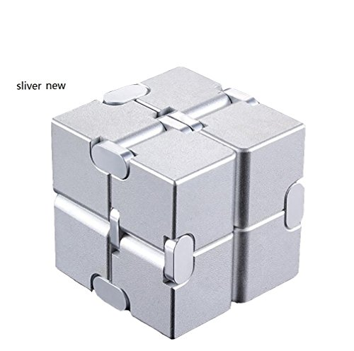 JEYKAY 2018 New Aluminium Alloy Infinity 17 Col Fidget Cube Infinity Cube,Fidget Cube for Stress and Anxiety Relief/ADHD,Ultra Durable (Sliver New) by JEYKAY (Image #1)