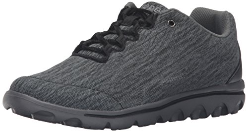 Propet Women's TravelActiv Oxford, Black/Grey Heather, 7 X-Wide