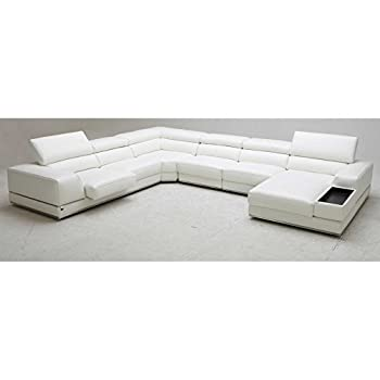 Wynn Leather Sectional Sofa with Adjustable Headrests - Left Chaise