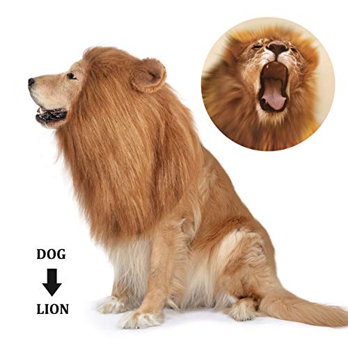 Easy Halloween Dog Costumes (Dog Lion Mane,Pet Dog Lion Mane Costume,Adjustable Lion Mane for Dog Funny Halloween Lion Costume with Ear Dog Wig for Medium or Large Sized)