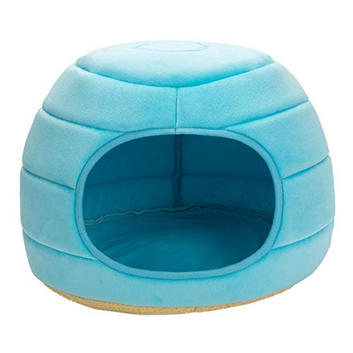 Hollypet 16″×16″×12.5″ Self-Warming 2-in-1 Foldable Cave Shape High Elastic Foam Pet Cat Bed for Cats and Small Dogs, Blue