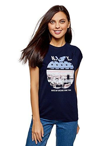 con Shirt Stampa Grezzo Ultra Etichetta Senza Blu Orlo 7919p con Cotone Donna in oodji T wFBfHv