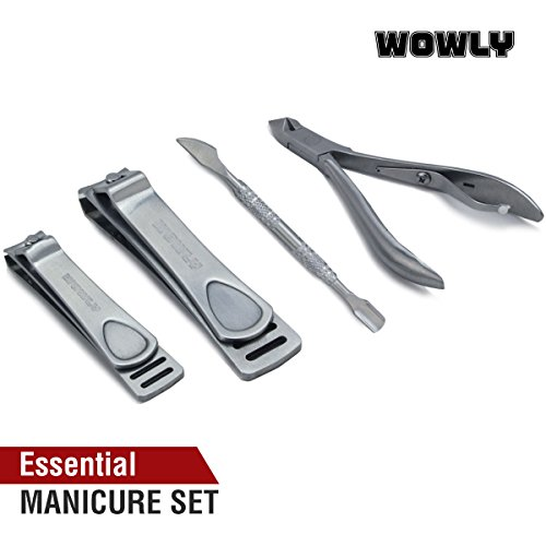 - Wowly Precision Nail Clippers Set - Fingernail & Toenail size Clipper Professional Kit + Cuticle Remover Cutter & Pusher Tool Pack
