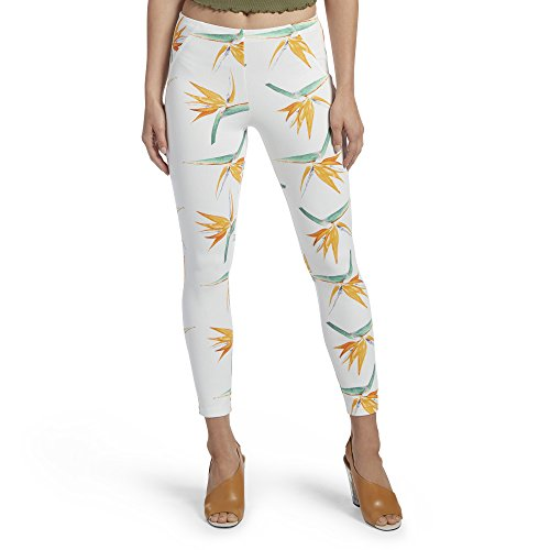 HUE Women's Simply Stretch Skimmer Leggings, Tropical Floral/White, X-Large (Tropical Wool Petite Pants)
