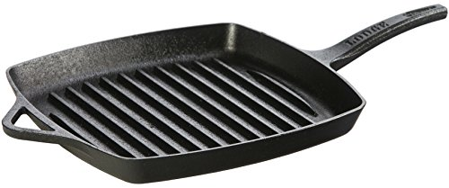 Lodge Dishwasher Safe Seasoned Cast Iron Grill Pan - 11 Inch Rust Resistant Ergonomic Cast Iron Skillet with Grill Ribs (Made in USA)