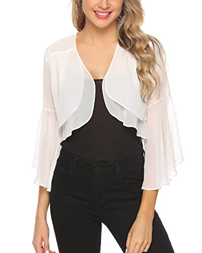 Hawiton Women's Sheer Bolero Shrug Ruffle Sleeve Open Front Cropped Chiffon Cardigan White