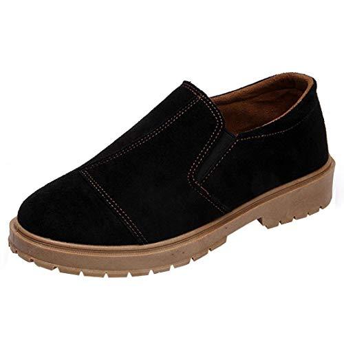 Femmes Cheville Basse Réduire Bout Rond Bottes en Cuir Chaussures Martin Slip-on Casual BaZhaHei Noir