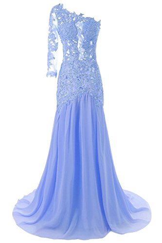 Anna's Bridal Women's One Shoulder Lace Evening Dresses Long Prom Gowns Light Blue US22W