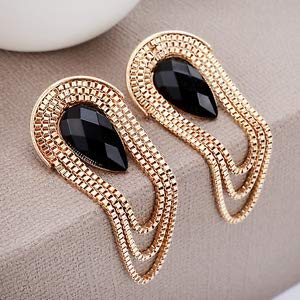 1set Elegant Gold Metal Chain Tassel Drop Ear Stud Earrings Women Luxury Jewelry Gift