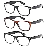 Gamma Ray Reading Glasses - 3 Pairs Spring Hinge Readers for Men and Women 1.75