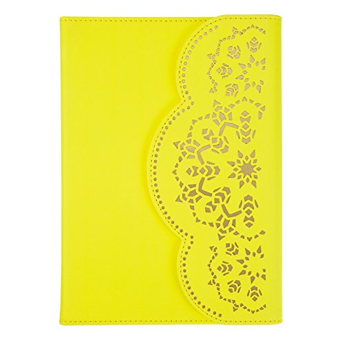 Lace Writing Journal and Notebook with Magnetic Closure in Bright Yellow Vegan Leather with Gold Underlay - by Eccolo by Eccolo World Traveler
