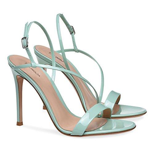 XUE Femmes Chaussures PU t Base Pompe de Mariage Chaussures Talon Aiguille Peep Toe Boucle fonc Noir Brown Party & Soire/Robe Formal Business Travail de Mariage (Couleur : Une, Taille : 38) B