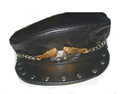 Leather Biker Cap Hat with Big Eagle, Studs Annd Chain Genuine Leather]()