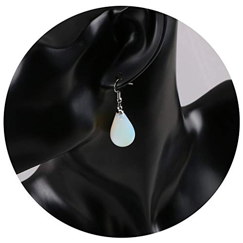 16 Colors Classic Tear Water Drop Natural Stone Beads Crystal Pendant Dangle Earring Women Jewelry Decoration,Opal