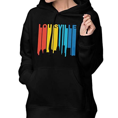 Retro 1970's Style Louisville Women's Long Sleeve Hooded Sweater Pocket ()